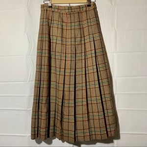 L.L. Bean vintage wool plaid midi skirt womans 10